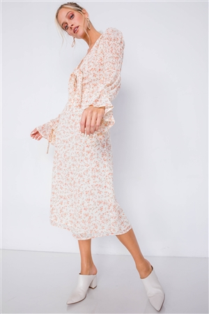 Ivory Minimalist Floral Tiered Cinched Puff Sleeve Midi Dress