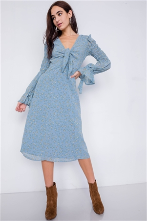 Sky Minimalist Floral Tiered Cinched Puff Sleeve Midi Dress
