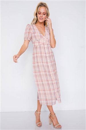 Nude Plaid V-Neck Short Puff Sleeve Frill Trim Casual Midi Dress