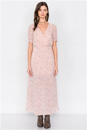 Dusty Rose Pink V-Neck Open Back Sheer Chiffon Maxi Dress