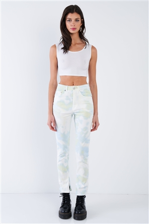 Lime Yellow Tie Dye Washed Denim High Waist Jeans