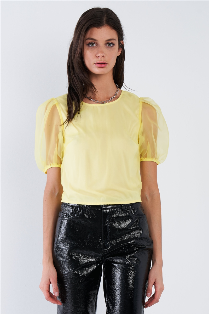 Yellow Sheer Puff Sleeve Retro Top