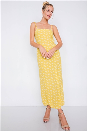 Yellow Feather Floral Print Square Neck Accordion Cami Dress