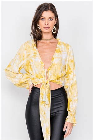 Yellow Tie Dye Open V-Neck Frill Detail Self Tie Crop Top