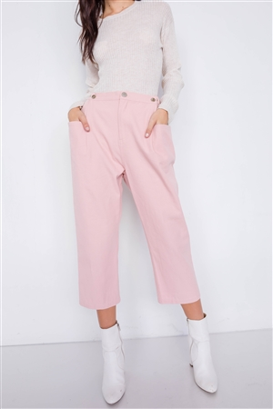 Dust Rose Chic Solid Ankle Wide Leg Adjustable Snap Waist Pants