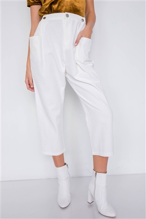 Off-White Chic Solid Ankle Wide Leg Adjustable Snap Waist Pants