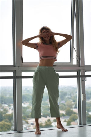 Sage Chic Solid Ankle Wide Leg Adjustable Snap Waist Pants