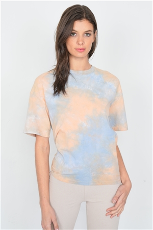 Orange Tie Dye Back Cut Out Knot Vintage Relaxed Fit Tee