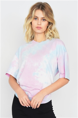 Pink Tie Dye Back Cut Out Knot Vintage Relaxed Fit Tee