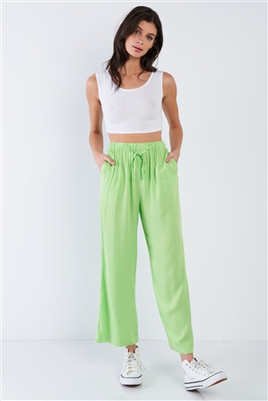 Neon Green Cotton Relaxed Fit Casual Wide Leg Ankle Pant