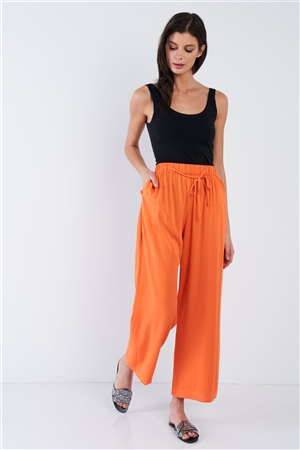 Orange Cotton Relaxed Fit Casual Wide Leg Ankle Pant