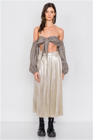 Gold Metallic Pleated Chic Midi Skirt