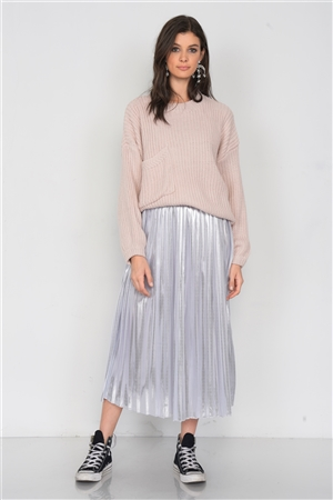 Silver Metallic Pleated Chic Midi Skirt