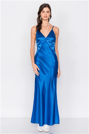 Blue Satin Elegant Double Slit Sleeveless Maxi Dress