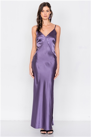 Eggplant Satin Elegant Double Slit Sleeveless Maxi Dress