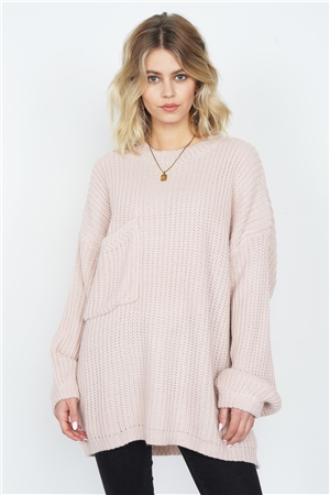 Taupe Rose Knit Relaxed Fit Puff Sleeve Comfy Sweater