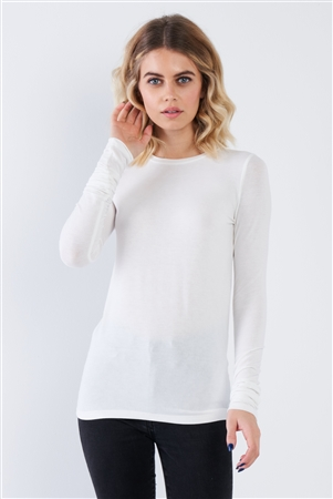 Off-White Casual Basic Long Sleeve Stretchy Bodycon Top