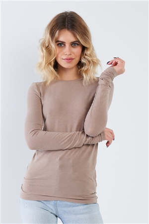 Taupe Casual Basic Long Sleeve Stretchy Bodycon Top