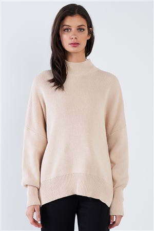 Beige Chic Oversized Knit Sweater