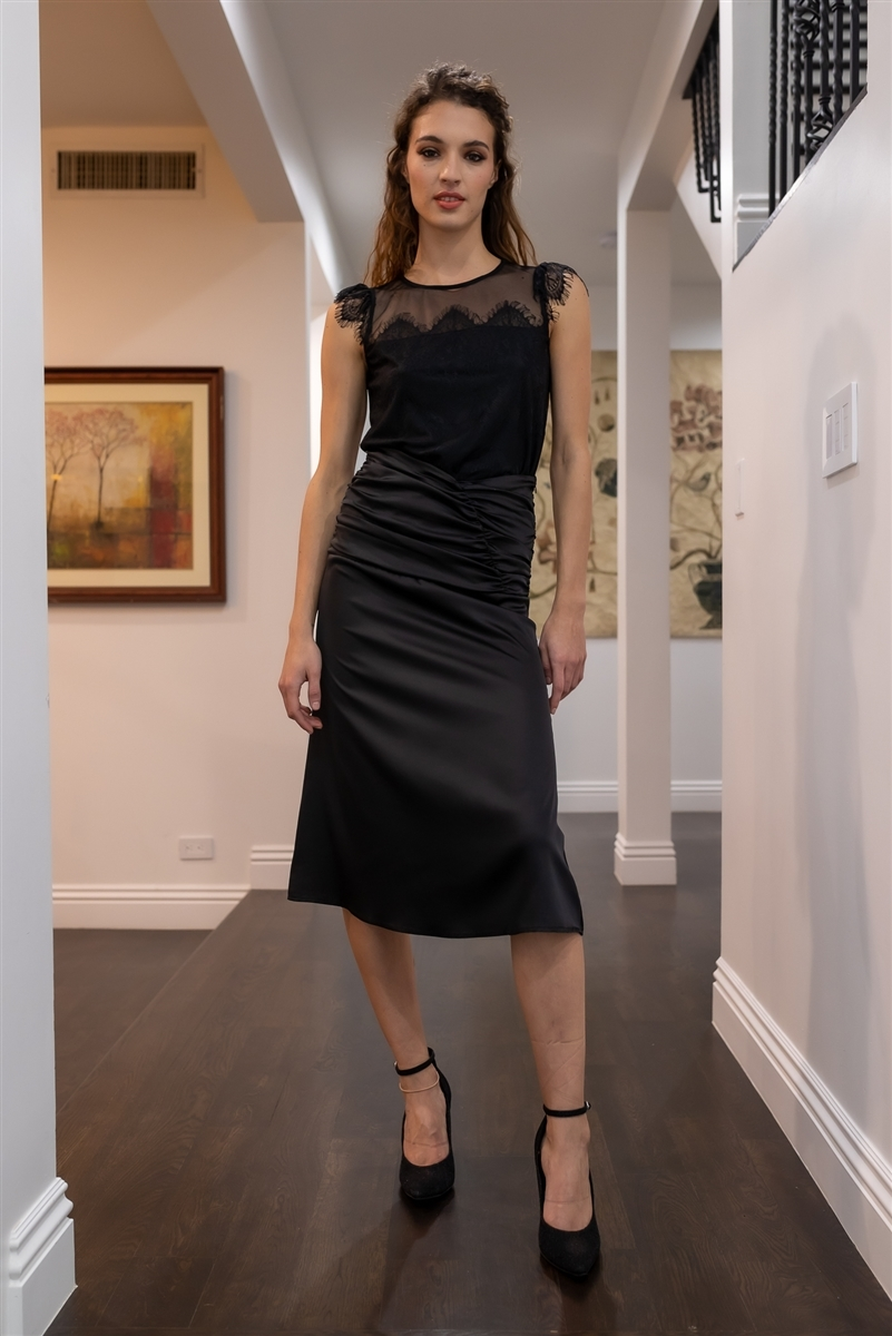 Black Satin Ruffle Waist Midi Skirt