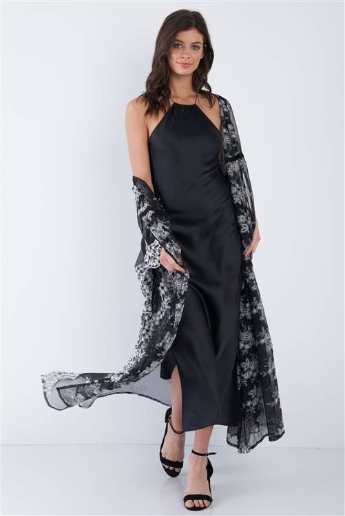 Black Silk Halter Side Slit Criss-Cross Open Back Midi Dress