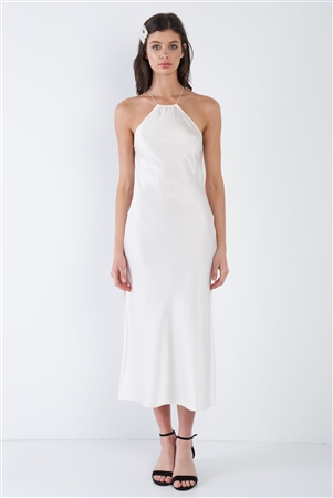 Ivory Silk Halter Side Slit Criss-Cross Open Back Midi Dress