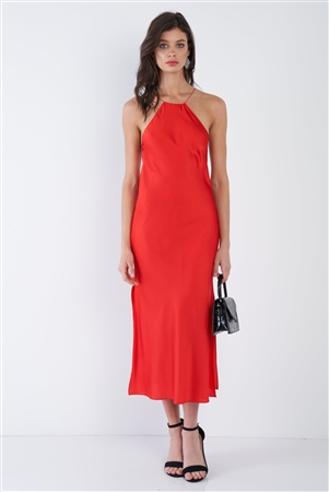 Red Silk Halter Side Slit Criss-Cross Open Back Midi Dress