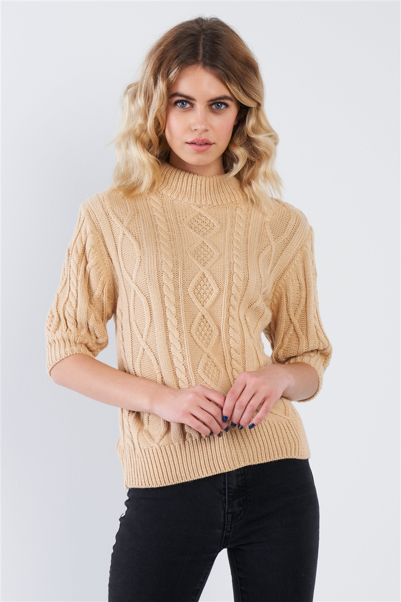 Beige Cable Knit Casual 3/4 Sleeve Mock Neck Chic Sweater