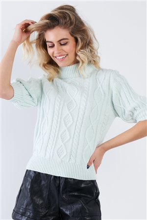 Cloud Blue Cable Knit Casual 3/4 Sleeve Mock Neck Chic Sweater