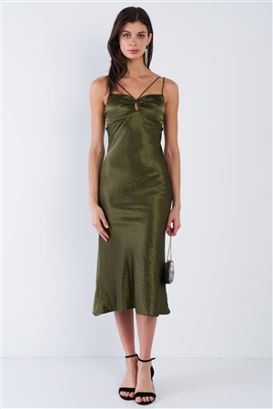 Olive Satin Strappy Center Ruffle Keyhole Midi Summer Dress