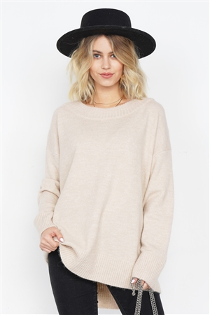 Beige Solid Wool Chic Oversized Ribbed Hem Scoop Neck Sweater