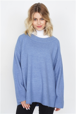 Blue Solid Wool Chic Oversized Ribbed Hem Scoop Neck Sweater