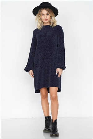 Navy Knit Plush Velvet Puff Sleeve Sweater Mini Dress