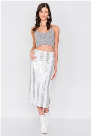 White & Silver Stripe Sequin Side Slit High Waist Midi Skirt