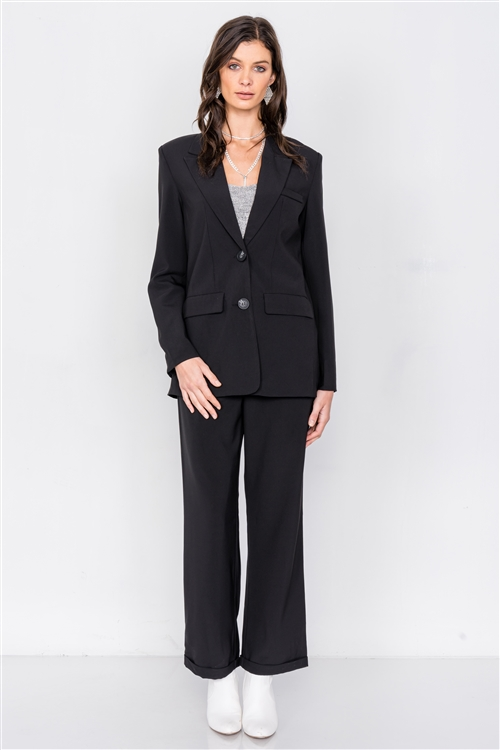 Black Fitted Blazer Office Chic High-Waist Ankle Pant Set