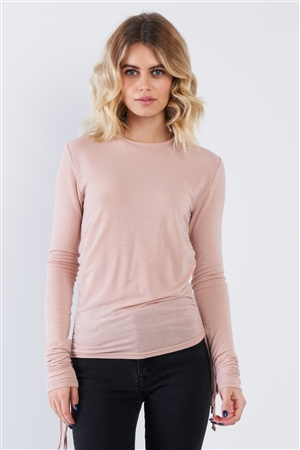 Pale Pink Side Ruched Draw Sting Long Sleeve Top