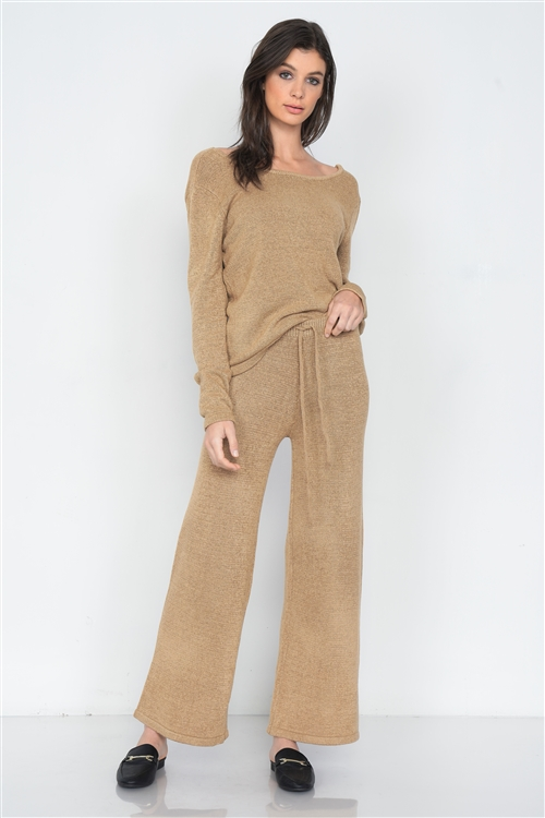 Beige Knit V-Neck Relaxed Fit Sweater & Flare Leg Pant Set