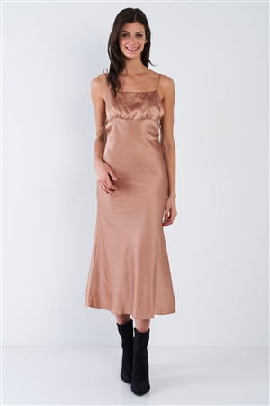 Mocha Brown Silk Scoop Neck Side Cut Out Midi Summer Dress