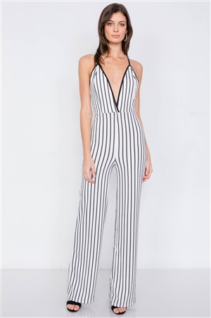White & Black Trim Stripe V-Neck Criss-Cross Strap Back Jumpsuit