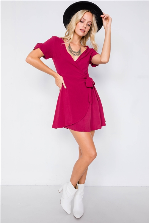 Burgundy Cotton Wrap Bow Cap Short Sleeve Mini Casual Dress
