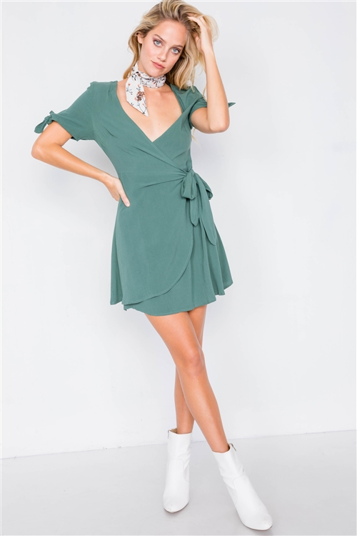 Green Cotton Wrap Bow Cap Short Sleeve Mini Casual Dress