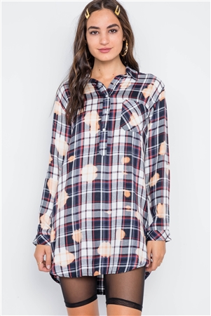 Navy PlaidLong Sleeve Bleach Dye Top