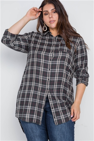 Plus Size Green Taupe Plaid Long Sleeve Shirt Dress