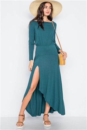 Green Solid Long Sleeve Side Slit Maxi Dress