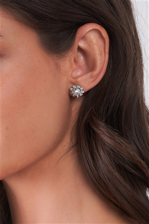Silver Diamond Incrusted Carnation Drop Earrings /3 Pieces