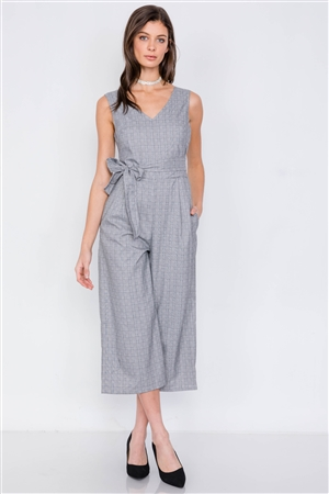 Grey Plaid Print Ankle Gaucho Wrap Back Jumpsuit