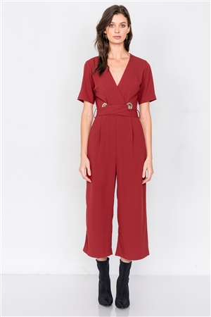 Wine V-Neck Ankle Gaucho Waist Lace Up Wrap Jumpsuit