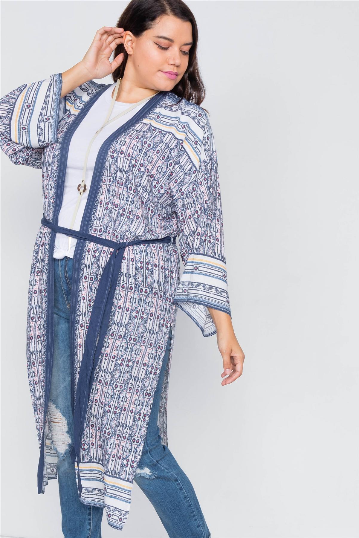 White Navy & Pink Festival boho Print Maxi Kimono