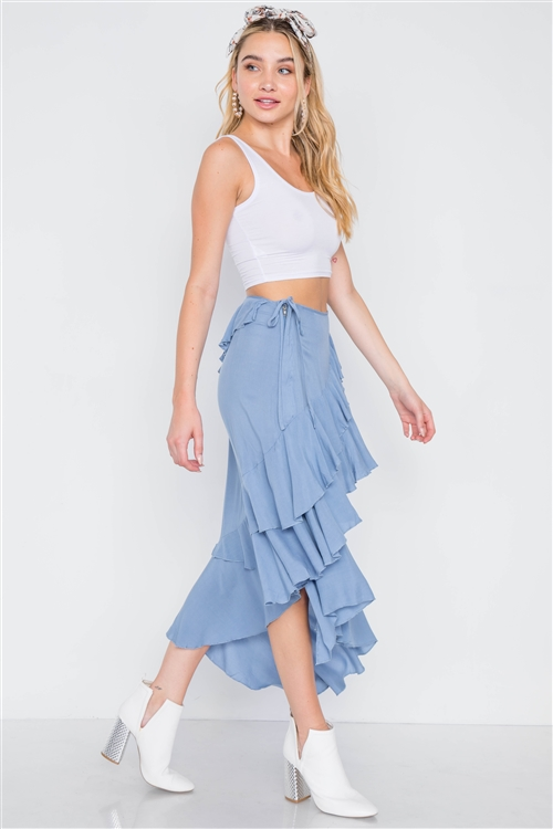 Denim Blue High-Waist Asymmetrical Flounce Midi Skirt