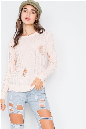 Peach Distressed High-Low Knit Sweater